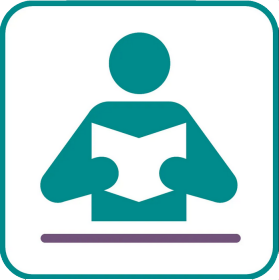 Icon of a person reading